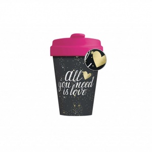 Mug Thermos en bambou Love black